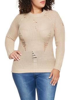 Plus Size Distressed Lace Up Sleeve Sweater - 3920038348146