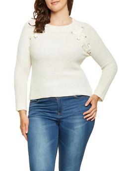 Plus Size Lace Up Knit Sweater - 3920038348148