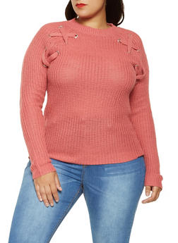Plus Size Lace Up Knit Sweater - 3920038348148