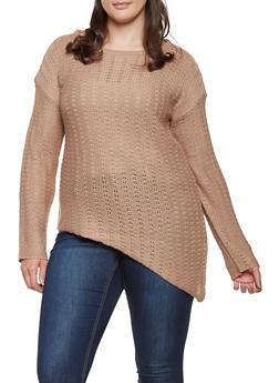 Plus Size Asymmetrical Sweater - 3920038348150