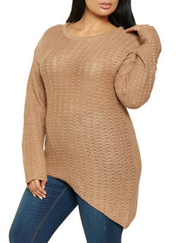 Plus Size Asymmetrical Sweater - 3920038348150