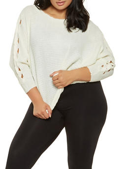 Plus Size Braided Sleeve Sweater - 3920038348151
