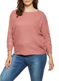 Plus Size Braided Sleeve Sweater - 3920038348151