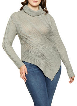 Plus Size Asymmetrical Sweater - 3920038348154