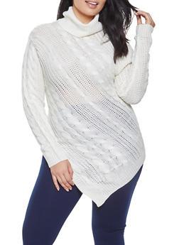 Plus Size Asymmetrical Sweater - 3920038348154