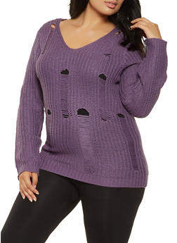 Plus Size Distressed Knit Sweater - 3920038348155