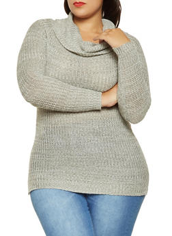 Plus Size Cowl Neck Sweater - 3920038348156