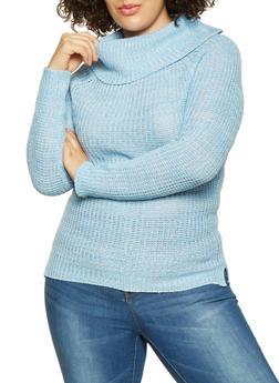 Plus Size Cowl Neck Sweater - 3920038348156