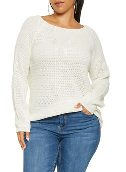 Plus Size Long Sleeve Sweater - 3920038348157