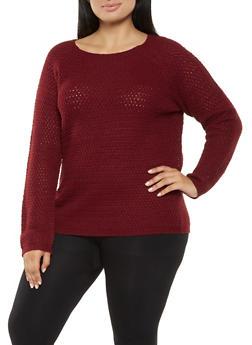 Plus Size Long Sleeve Sweater - 3920038348157