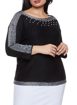 Plus Size Faux Pearl Detail Sweater - 3920038348160