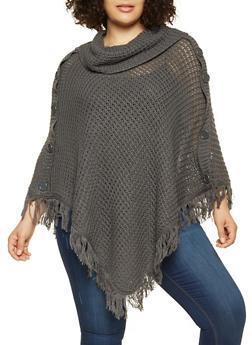 Plus Size Fringe Knit Poncho - GRAY - 3920038348180