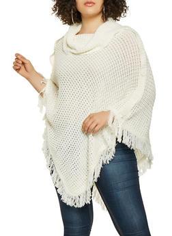 Plus Size Fringe Knit Poncho - IVORY - 3920038348180