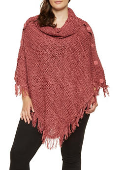Plus Size Marled Faux Button Poncho - 3920038348181