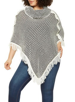 Plus Size Fringe Knit Poncho - 3920038348182