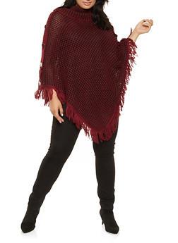 Plus Size Fringe Knit Poncho - WINE - 3920038348182