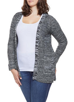 Plus Size Knit Open Front Cardigan - 3920038348206