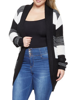 Plus Size Striped Knit Cardigan - 3920038348207