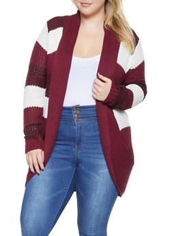 Plus Size Striped Knit Cardigan - 3920038348207