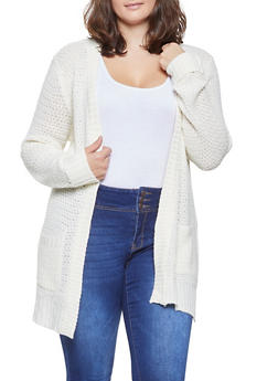Plus Size Knit Open Front Cardigan - 3920038348212
