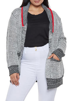 Plus Size Contrast Trim Cardigan - 3920038348213