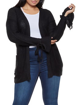 Plus Size Knit Cardigan - 3920038348214