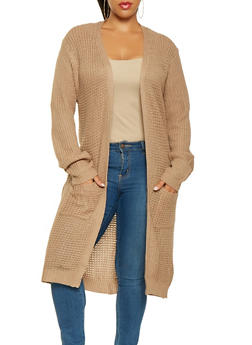 Plus Size Long Knit Cardigan - 3920038348215