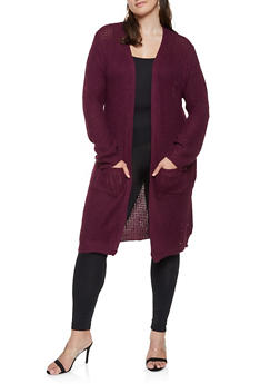 Plus Size Long Knit Cardigan - 3920038348215