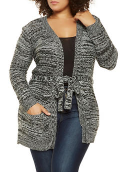 Plus Size Tie Waist Knit Cardigan - 3920038348217