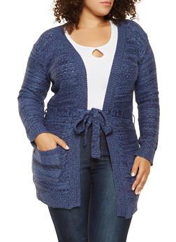 Plus Size Tie Waist Knit Cardigan - 3920038348217
