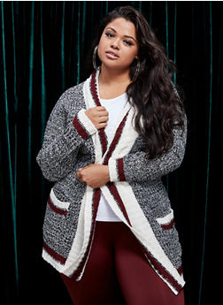 Plus Size Shawl Collar Cardigan - 3920038348218