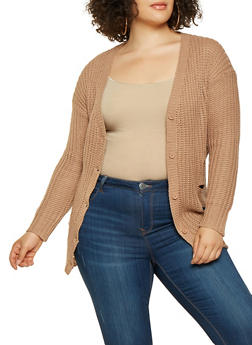 Plus Size Destroyed Button Front Cardigan - 3920038348220