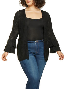 Plus Size Tiered Bell Sleeve Knit Cardigan - 3920038348221