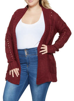 Plus Size Cable Knit Cardigan - 3920038348222