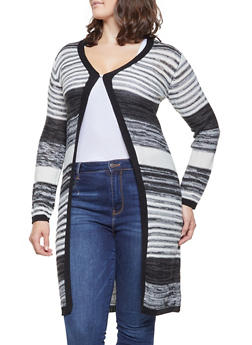 Plus Size Striped Knit Cardigan - BLACK - 3920038348223