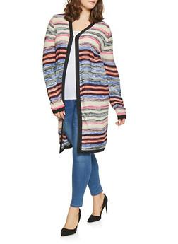 Plus Size Striped Knit Cardigan - METALLIC MULTI - 3920038348223