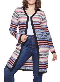 Plus Size Striped Knit Cardigan - MULTI COLOR - 3920038348223