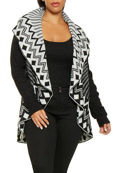 Plus Size Shawl Collar Cardigan - 3920038348261