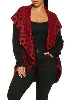 Plus Size Shawl Collar Cardigan - 3920038348261
