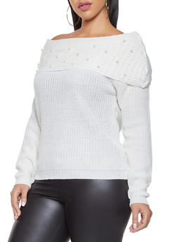 Plus Size Faux Pearl Studded Off the Shoulder Sweater - 3920038348263