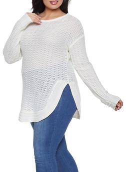 Plus Size Round Hem Knit Sweater - 3920038348277