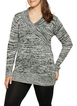 Plus Size Marled Faux Wrap Sweater - 3920038348302