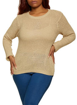 Plus Size Long Sleeve High Low Sweater - 3920038349102