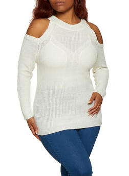 Plus Size Cold Shoulder Knit Sweater | 3920038349103 - 3920038349103