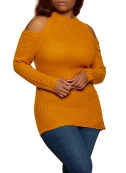 Plus Size Cold Shoulder Knit Sweater   3920038349103 - 3920038349103
