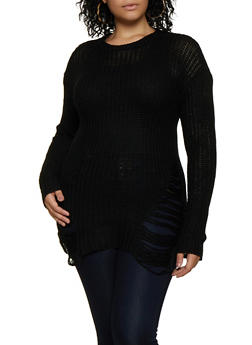 Plus Size Ripped Knit Sweater - 3920038349105