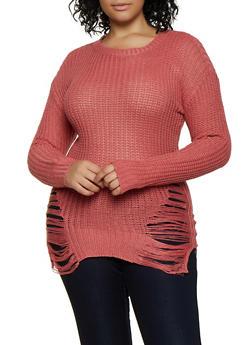 Plus Size Ripped Knit Sweater - 3920038349105