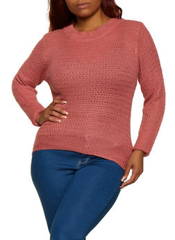 Plus Size Solid Crew Neck Sweater - 3920038349106