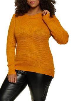 Plus Size Solid Crew Neck Sweater - 3920038349106