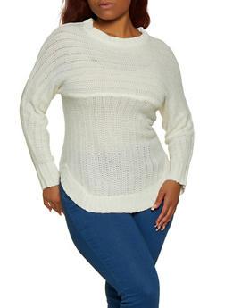 Plus Size Crew Neck Rounded Hem Sweater - 3920038349107